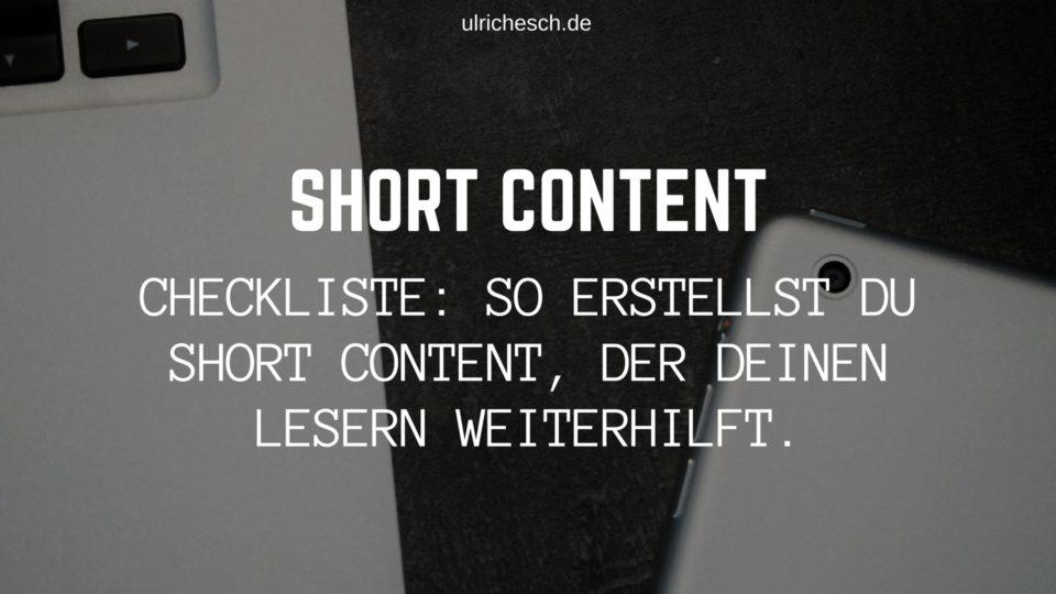 short-content-checkliste